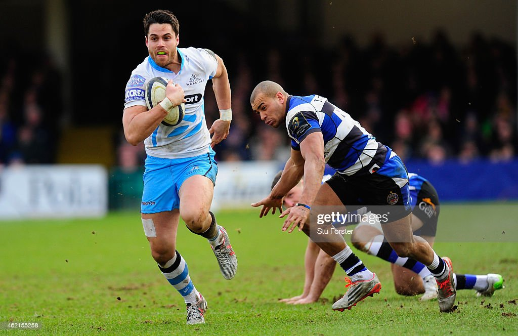 Glasgow player Sean Maitland makes a break through the Bath defence during the European Rugby Champions Cup match between Bath Rugby and Glasgow...