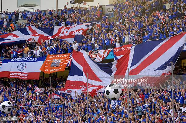 Glasgow Rangers fans in the stadium before the UEFA Cup Final between Zenit St Petersburg and Glasgow Rangers held in Manchester England 14th May...