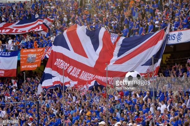 Glasgow Rangers fans in the stadium before the UEFA Cup Final between Zenit St Petersburg and Glasgow Rangers held in Manchester England on 14th May...