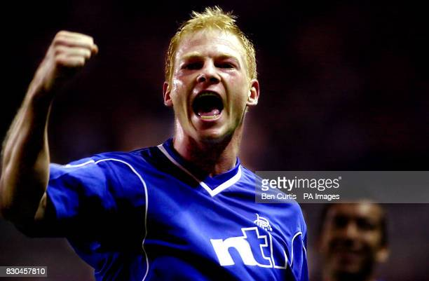 Glasgow Rangers' Jorg Albertz celebrates after scoring against SK Sturm Graz during their UEFA Champions Leaguefootball match at Glasgow's Ibrox...