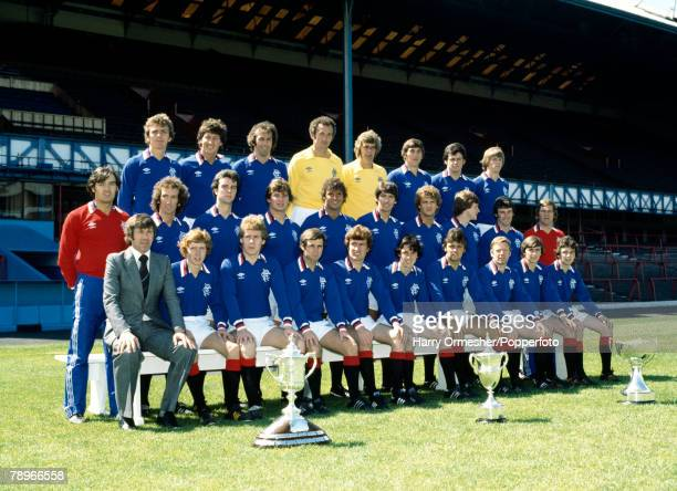 Football Season 1978/9 Glasgow Rangers Photocall The Rangers squad pose together for a group photograph displaying their trophies
