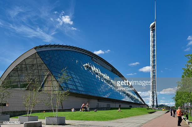 Glasgow science centre on a bright sunny day