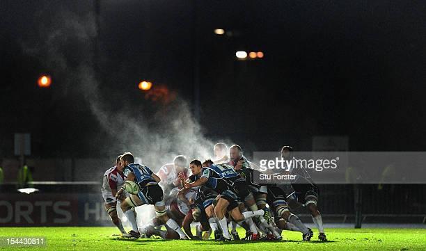 Glasgow scrum half Henry Pyrgos sets up an attack during the Heineken Cup round 2 match between Glasgow Warriors and Ulster at Scotstoun Stadium on...