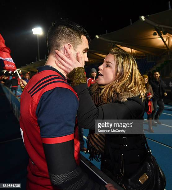 Glasgow United Kingdom 14 January 2017 Conor Murray of Munster is congratulated by his sister Sarah following the European Rugby Champions Cup pool 1...