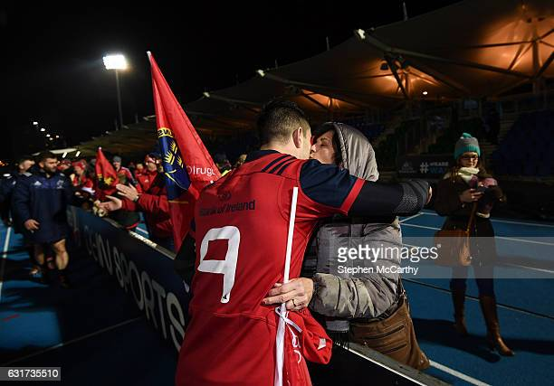 Glasgow United Kingdom 14 January 2017 Conor Murray of Munster is congratulated by his mother Barbara following the European Rugby Champions Cup pool...