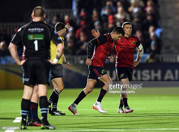 Glasgow United Kingdom 14 January 2017 Conor Murray of Munster leaves the pitch for a head injury assesment during the European Rugby Champions Cup...