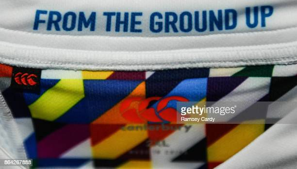 Glasgow United Kingdom 21 October 2017 A detailed view of the Leinster jersey ahead of the European Rugby Champions Cup Pool 3 Round 2 match between...