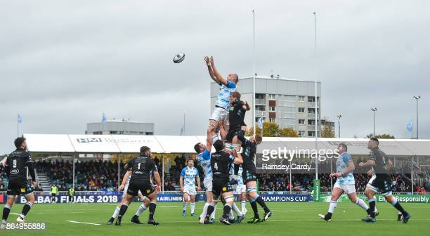 Glasgow United Kingdom 21 October 2017 Devin Toner of Leinster in action against Jonny Gray of Glasgow Warriors during the European Rugby Champions...