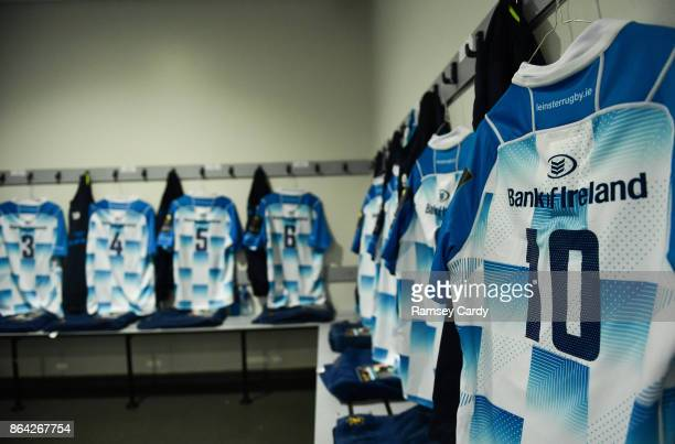 Glasgow United Kingdom 21 October 2017 The jersey of Jonathan Sexton hangs in the Leinster dressing room ahead of the European Rugby Champions Cup...