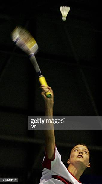 Badminton player Claudia Rivero of Peru competes on the first day of the Sudirman Cup World Team Badminton Championships in Glasgow in Scotland 11...