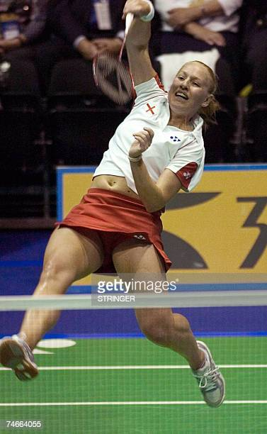 Gail Emms of England competes against Indonesia in the semifinal of the Sudirman World Badminton Team Championsips in Glasgow Scotland 16 June 2007...