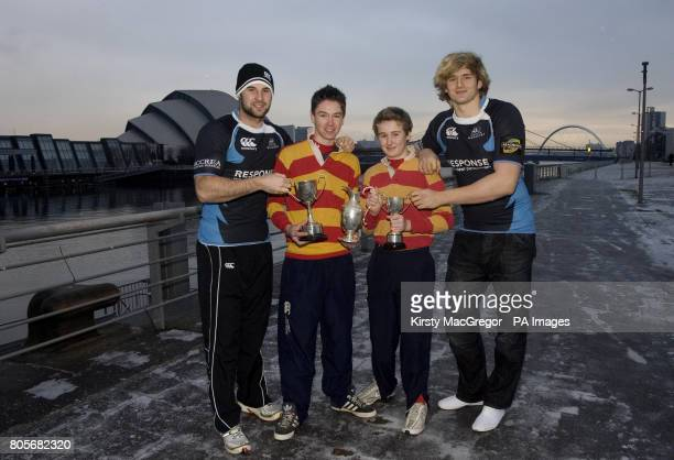 Glasgow Warriors' John Beattie Adam MacCleod Iain Campbell and Glasgow Warriors Richie Gray during the media event at the Glasgow Science Centre...
