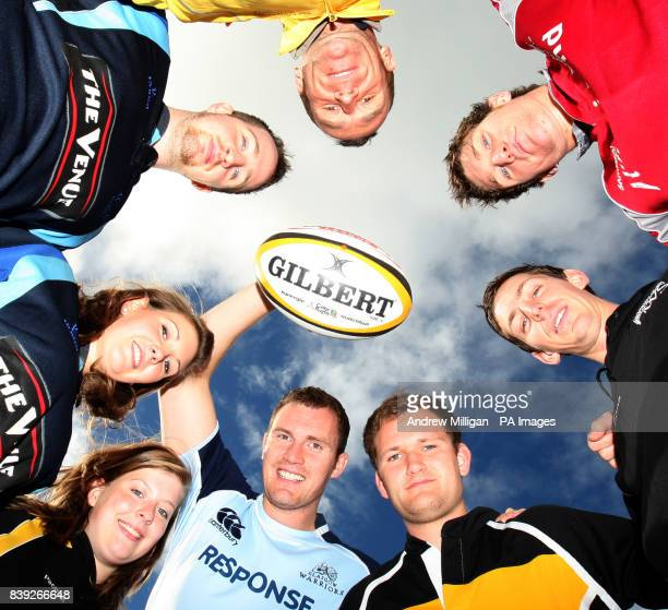 Glasgow Warriors rugby player Alastair Kellock with rugby captains from the women and mens sides from universities based in Glasgow Pictured to the...