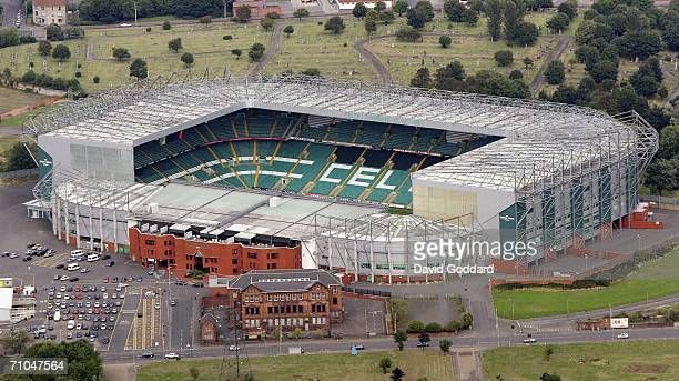 Glasgow's Eastern Necropolis forms a backdrop to the home of Celtic Football Club Celtic Park in this aerial photo taken on September 3 2005 above...