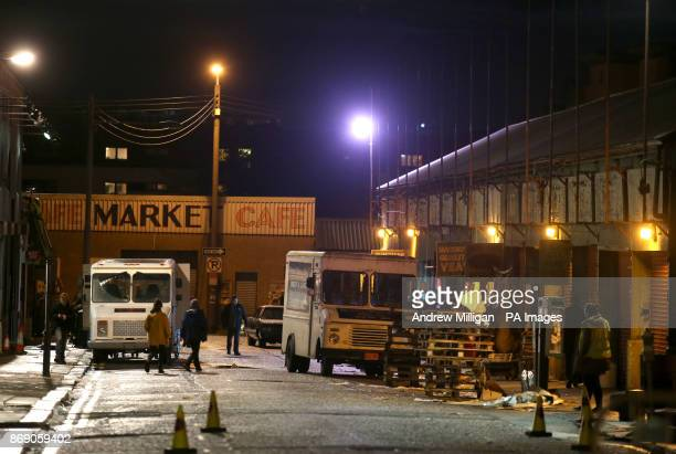 Glasgow's famous Barras market which has been transformed into New York City for the filming of Benedict Cumberbatch's new series Melrose