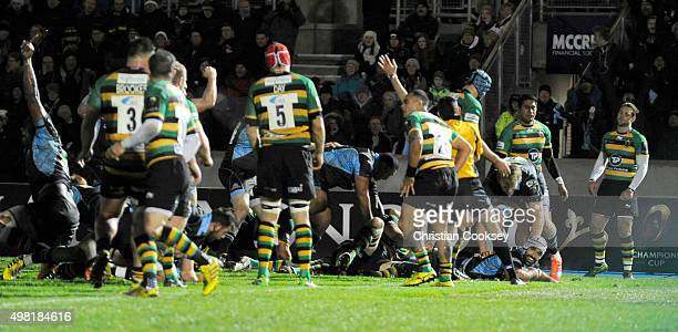 Glasgow's Josh Strauss sneaks over for Glasgow's second try at Scotstoun Stadium on November 21 2015 in Glasgow Scotland