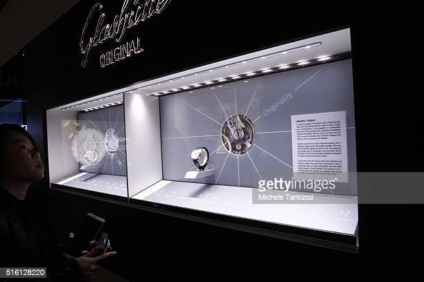 Glashuette watch stands on display at the Glashuette stand during Baselworld watch and jewellry Fair trade on March 17 2016 in Basel Switzerland Held...