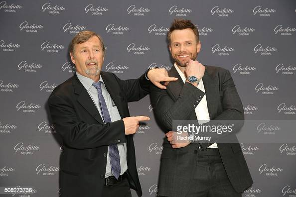 Glashutte CEO Yann Gamard and actor Joel McHale attend the Glashutte Original celebrates the launch of manufactory book 'Impressions' at Milk Studios...