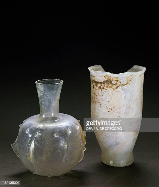 Glass ampoule and glass Roman Civilisation 2nd3rd century Brescia Museo Civico Dell'Età Romana E Tempio Capitolino