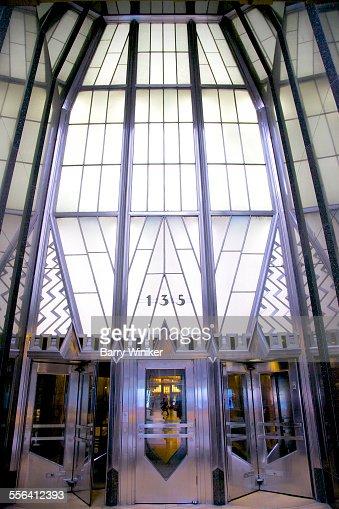 Glass and steel landmark entrance, NYC