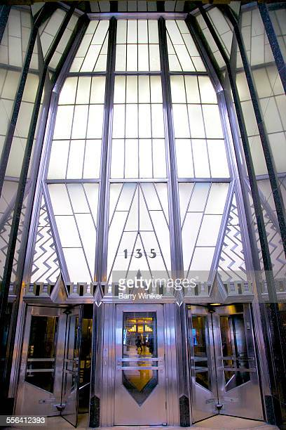 Glass and steel landmark entrance, NYC