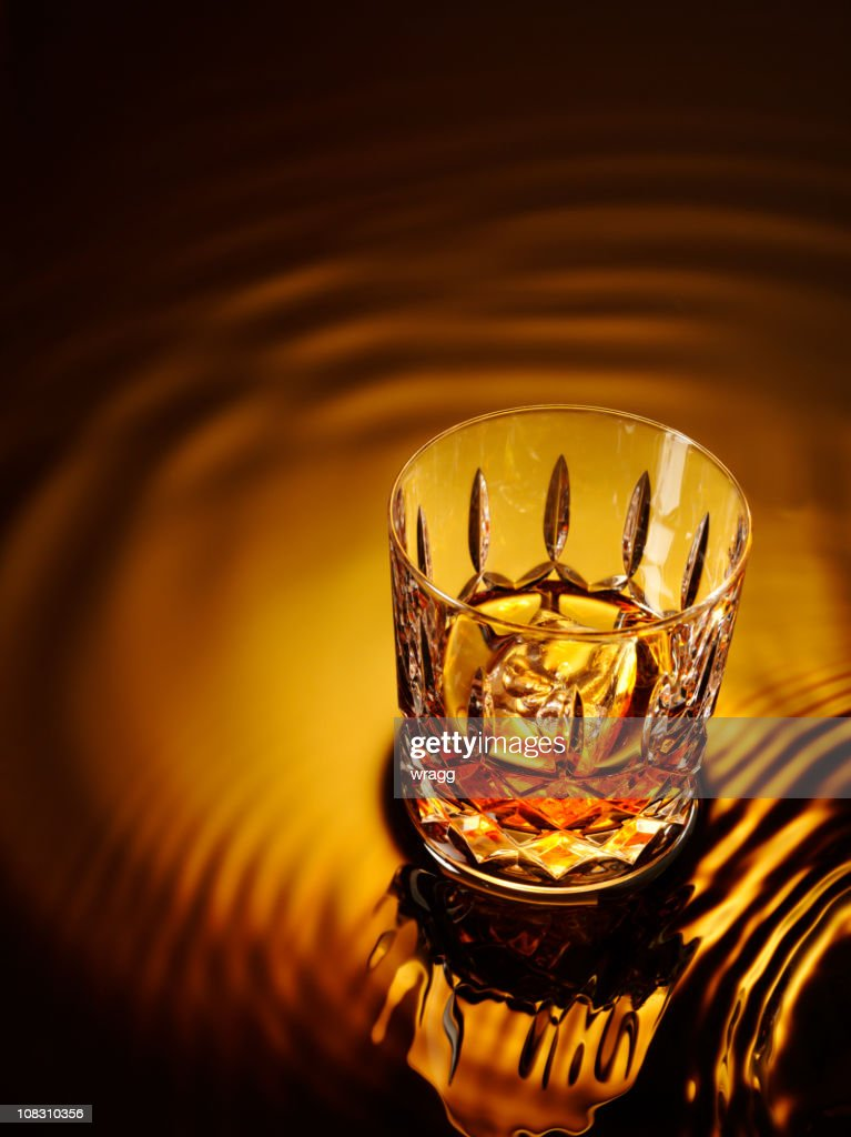 Glass and Whiskey : Stock Photo