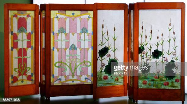Glass and Wood screen decorated with Lilies by Frederic Vidal Spanish painter Dated 1899