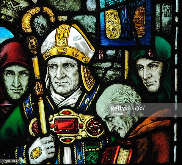 Glass art of Saint Patrick close-up