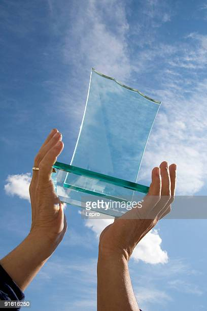 Glass award held up high by two hands in front of blue sky