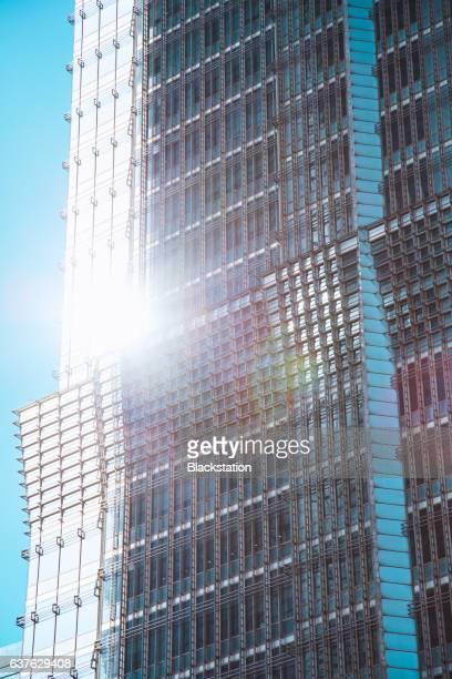 glass block screen wall of Jinmao Tower
