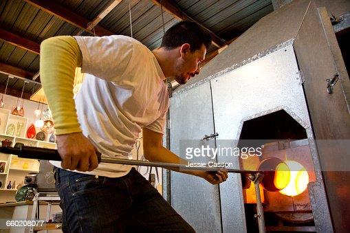 Glass Blowers in Studio : Stock Photo