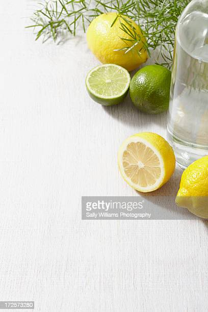 A glass bottle of water with lemons and limes