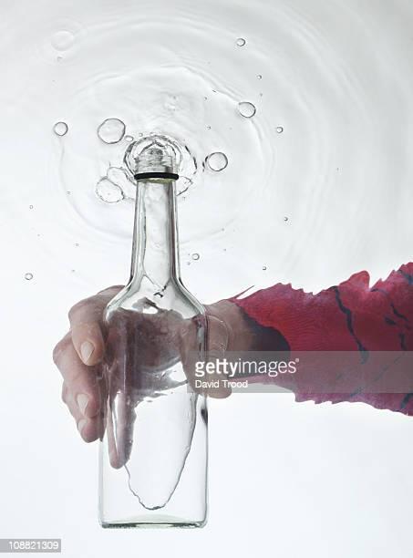 glass bottle underwater