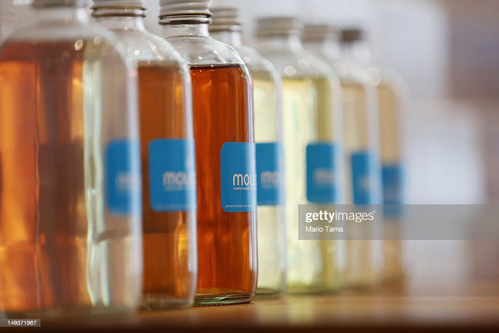 Glass bottles of filtered New York City water with added vitamins and supplements are seen at Molecule Water Cafe in Manhattan's East Village on July 27, 2012 in New York City. The newly opened cafe sells water purified in a $25,000 filtration system and encourages customers to purchase and refill environmentally friendly glass bottles. Extras such as vitamins and electrolytes can be custom added.