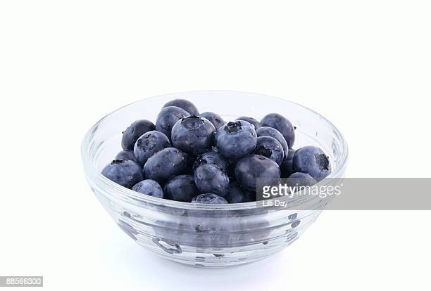 Glass Bowl of Washed Blueberries