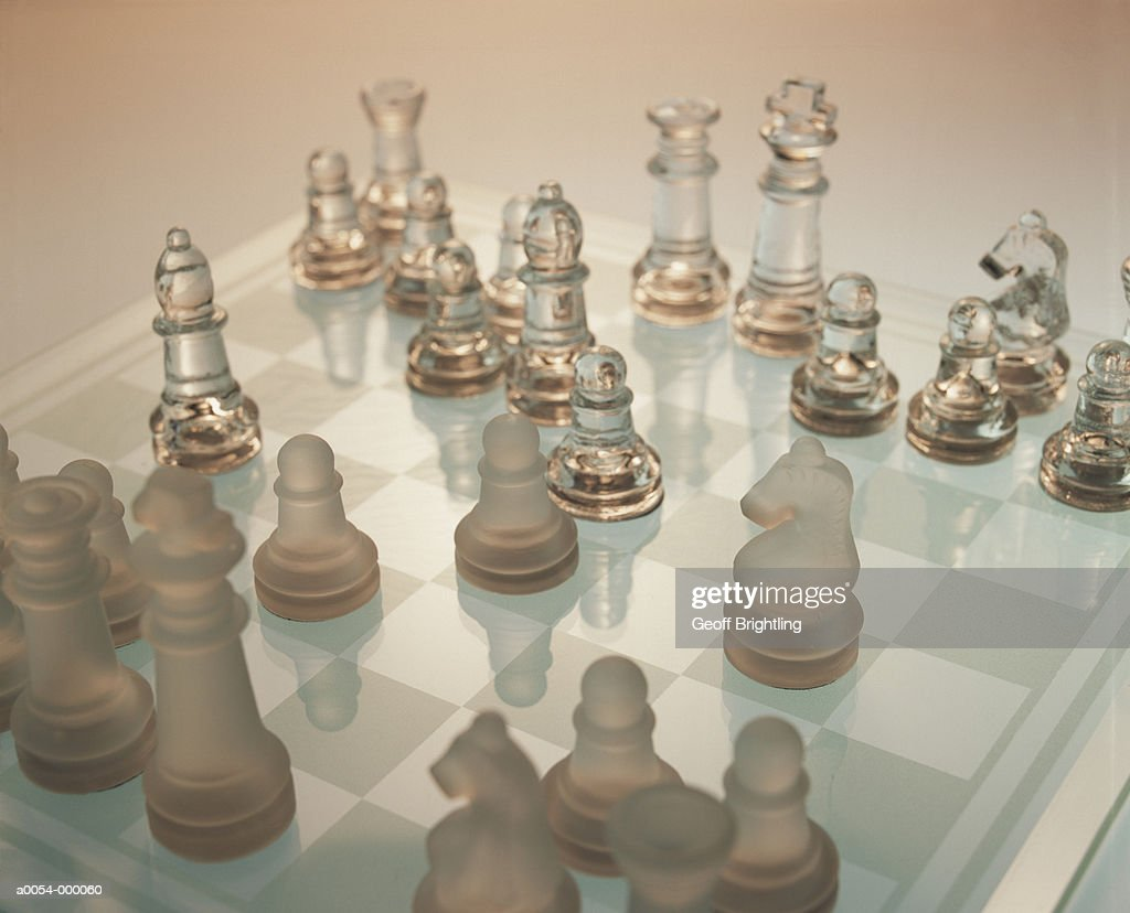 Glass Chess Board and Pieces : Stock Photo