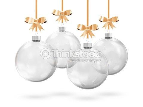 glass christmas balls hanging on golden ribbons stock photo - Glass Christmas Balls