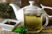 Glass cup with fresh green tea and mint.