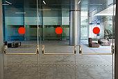 Glass doors of office building