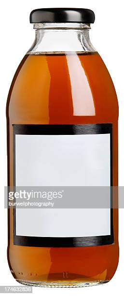 Glass Drink bottle with blank label. Isolated