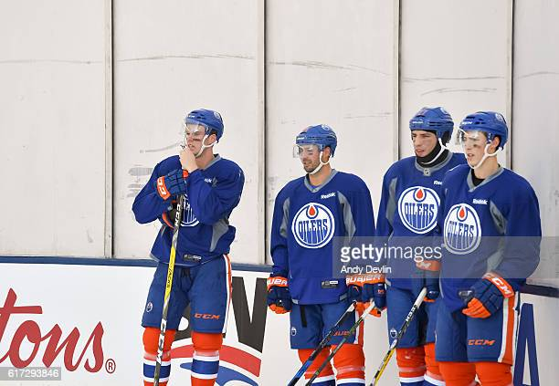 Glass fogs up during the Edmonton Oilers practice in advance of the 2016 Tim Hortons NHL Heritage Classic game at Investors Group Field on October 22...