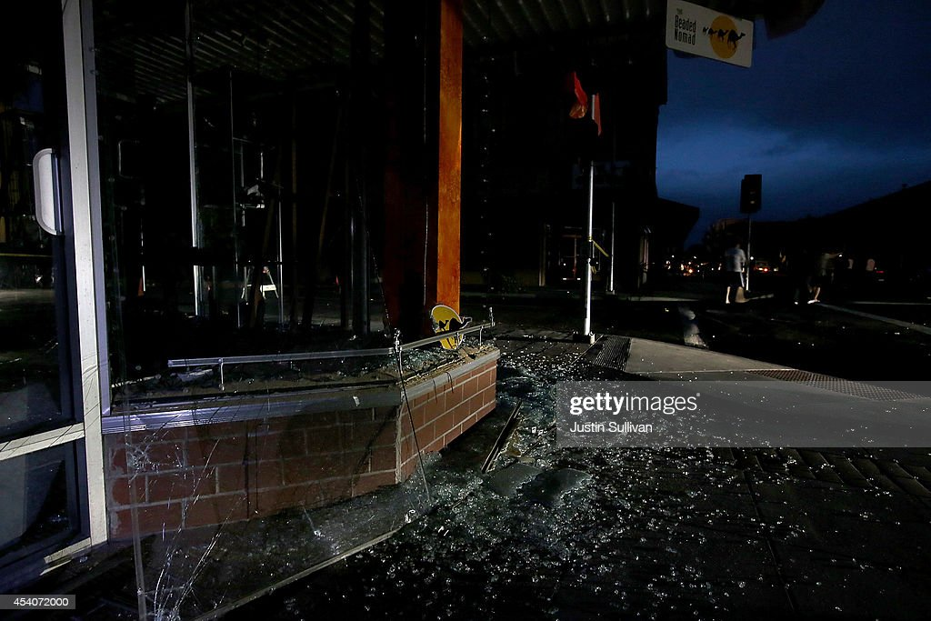Glass from a business litters the ground following a reported 6.0 earthquake on August 24, 2014 in Napa, California. A 6.0 earthquake rocked the San Francisco Bay Area shortly after 3am on Sunday morning.