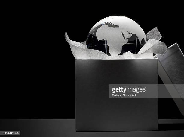 glass globe in white box