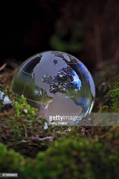 Glass globe showing USA