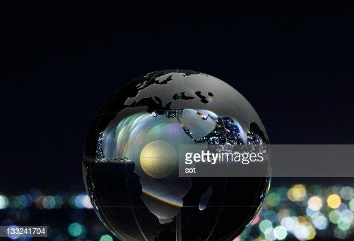 Glass globe,night view background