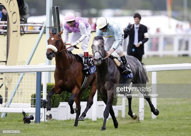 Glass Harmonium ridden by Ryan Moore goes on to win the Hampton Court Stakes at Ascot from Cashelgar and Gerald Mosse