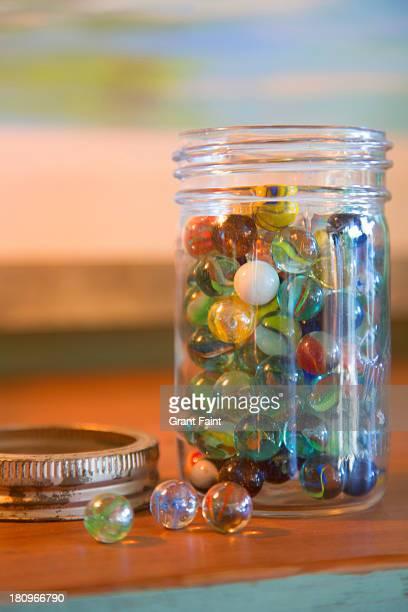 Glass jar full of marbles