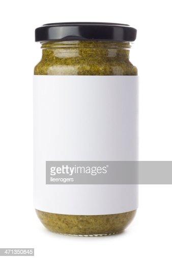 グリーンのガラスの瓶ペスト白背景