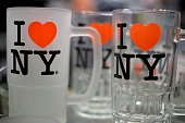 Glass mugs with the 'I love New York' logo are seen in a souvenir shop in Manhattan on November 04 2014 in New York AFP PHOTO / MLADEN ANTONOV