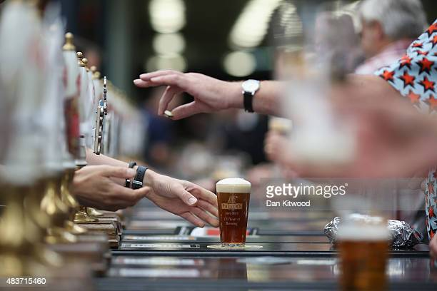 A glass of Ale is sold at the CAMRA Great British Beer festival at Olympia London exhibition centre on August 12 2015 in London England The five day...